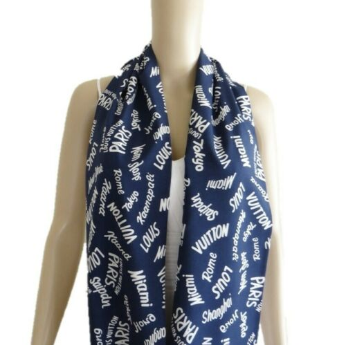 Soft Pattern Scarf. Navy Blue Printed Infinity Scarf Words Print Circle Scarf