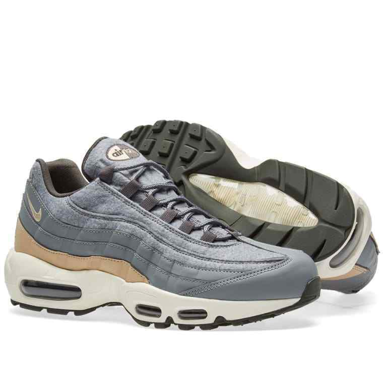 Nike Air Max 95 Premium Cool Grey & Mushroom Mens Sneakers (538416-009)