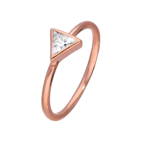 W Rose Gold Plated Sterling Silver /& CZ Crystal Triangle Ring Size J