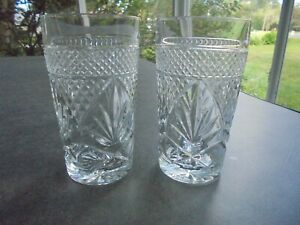 2-Cris-D-039-Arques-Antique-Pattern-Tall-Highball-Glasses-6-1-4-034-Tall