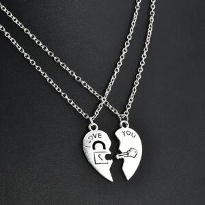 2pcs i love you heart lock key pendant necklace couple chain image is loading 2pcs i love you heart lock amp key aloadofball Image collections