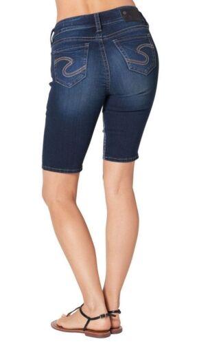 WOMENS SILVER JEANS Bermuda Shorts Mid Rise Suki Dark Denim Jean Knee Stretch 29