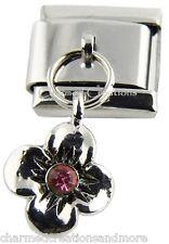 Petunia Flower Pink Crystal 9mm Italian Charm Stainless Modular Dangle Link