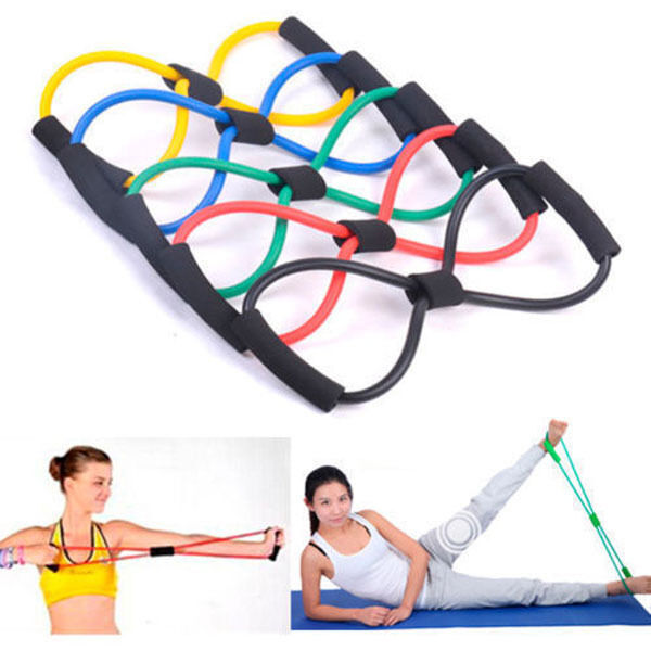 Resistance Band Yoga Pilates Abs Exercise Stretch Fitness Tube Workout Bands P