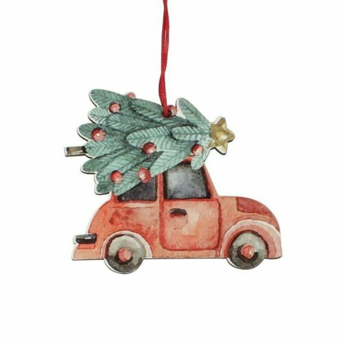 3PCS Christmas Truck Tree Pendants Wooden Crafts Hanging Ornaments Home Decor