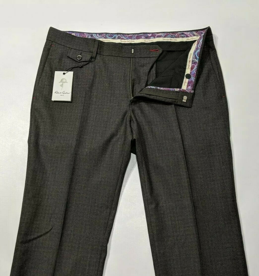 Robert Graham Mens Trouser Slim Wool braun braun braun Woven Check W36 L35 Unhemmed New 90b9ec