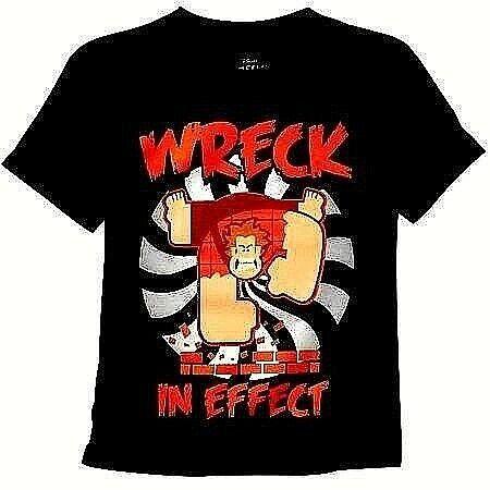 It Ralph NWT Boys/' T-Shirt Super Mario WWE Cena Lesnar Regular Show Wreck