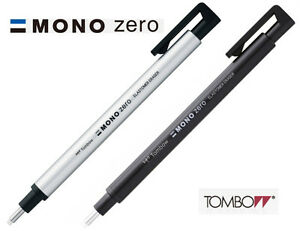 Tombow MONO Zero Round Eraser 2.3mm Diameter Choice of Black or Silver barrel