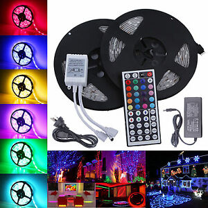5M-10M-5050-RGB-SMD-LED-Strip-Light-44Key-Remote-Controller-Power-Supply-Adapter