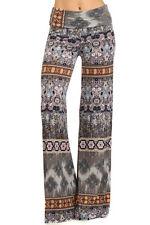 Boho Gray Multi Palazzo Pants, Wide Leg, Fold Over Waist, S