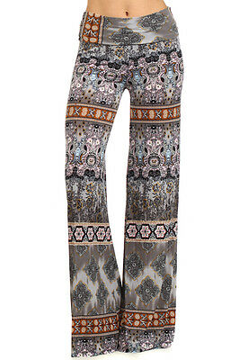 Boho Gray Multi Palazzo Pants, Wide Leg, Fold Over Waist, S