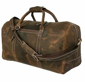 Mens Genuine Leather Weekender Travel Overnight Duffle Bag Gym Carry On Luggage