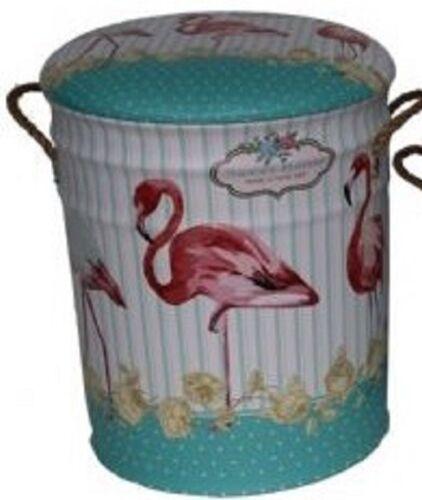 Flamingo Vintage Retro Oil Drum Storage Seat 3 brilliant sizes padded seat