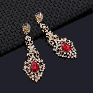 Red Elegant Crystal Elongated Earring Jewellery for Women - Basildon, United Kingdom - Red Elegant Crystal Elongated Earring Jewellery for Women - Basildon, United Kingdom