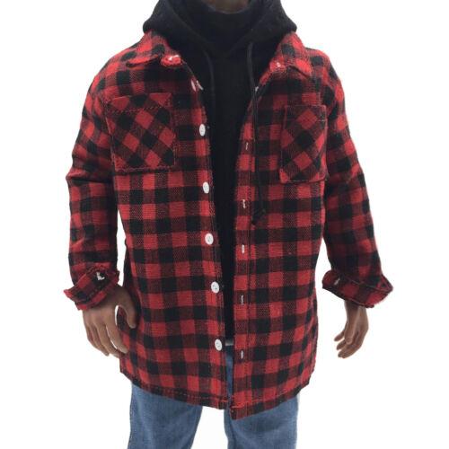 """1//6 Red Male Plaid Shirt Kleidung für 12 /""""Action Figure Zubehör"""