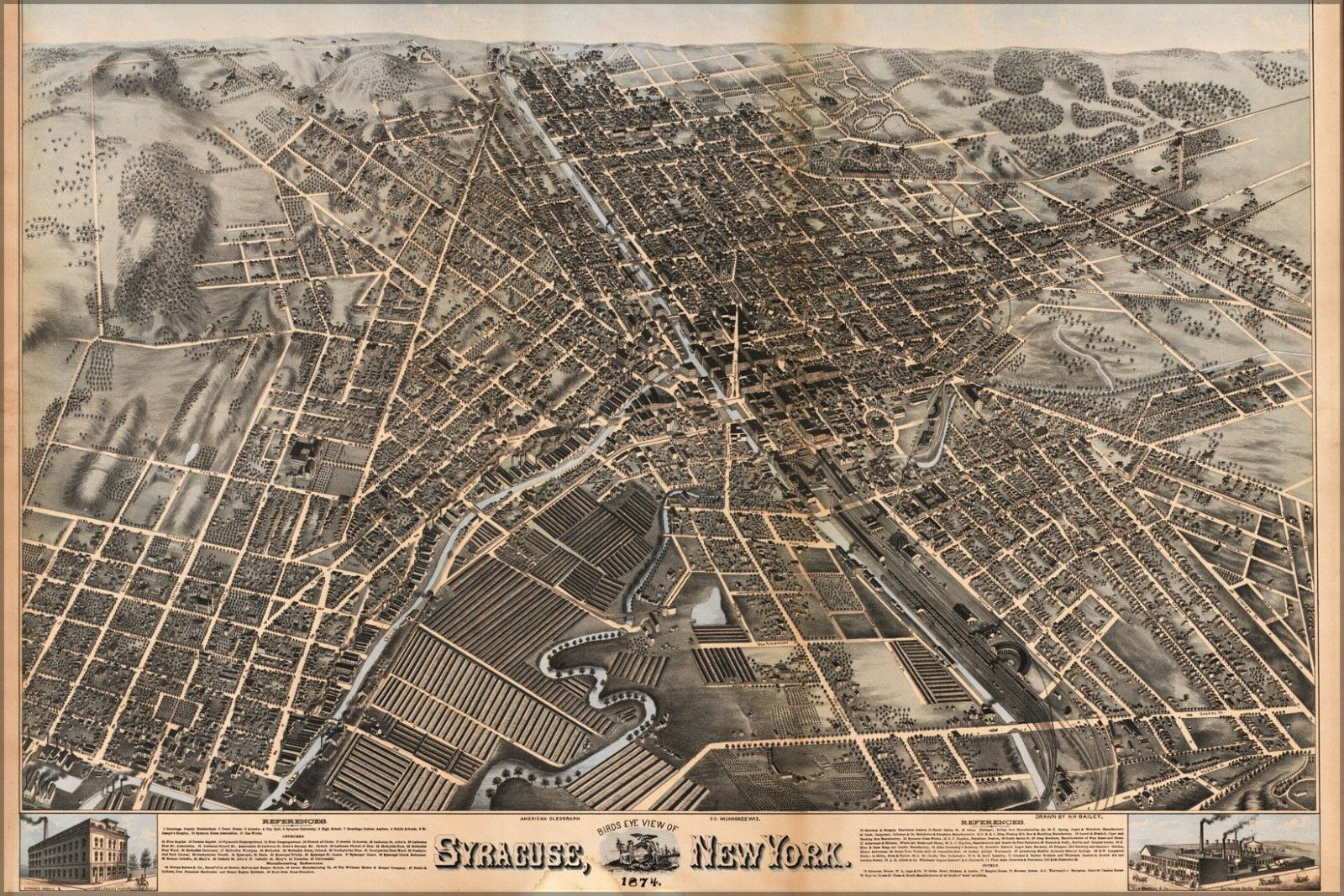 Poster, Many Größes; Birdseye View Of Syracuse, New York  1874