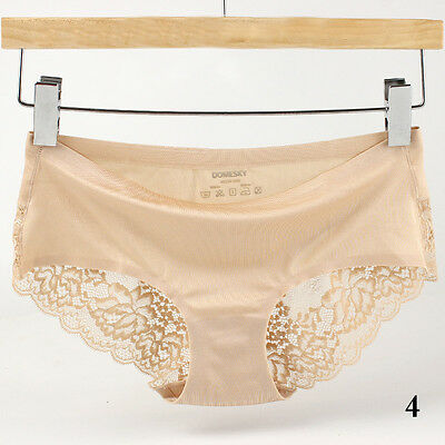 Women Sexy Lace Panties Lingerie Soft Silk Satin Underwear Briefs G-string