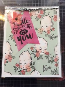 Baby-Boy-Or-Girl-Card-Green-Kewpies-Pink-Flowers-Handmade