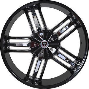 4 Gwg Wheels 20 Inch Black Chrome Spade Rims Fits Toyota Venza 2009