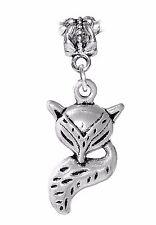 Fox Woodland Animal Zoo Head Tale Dangle Charm for Silver European Bead Bracelet