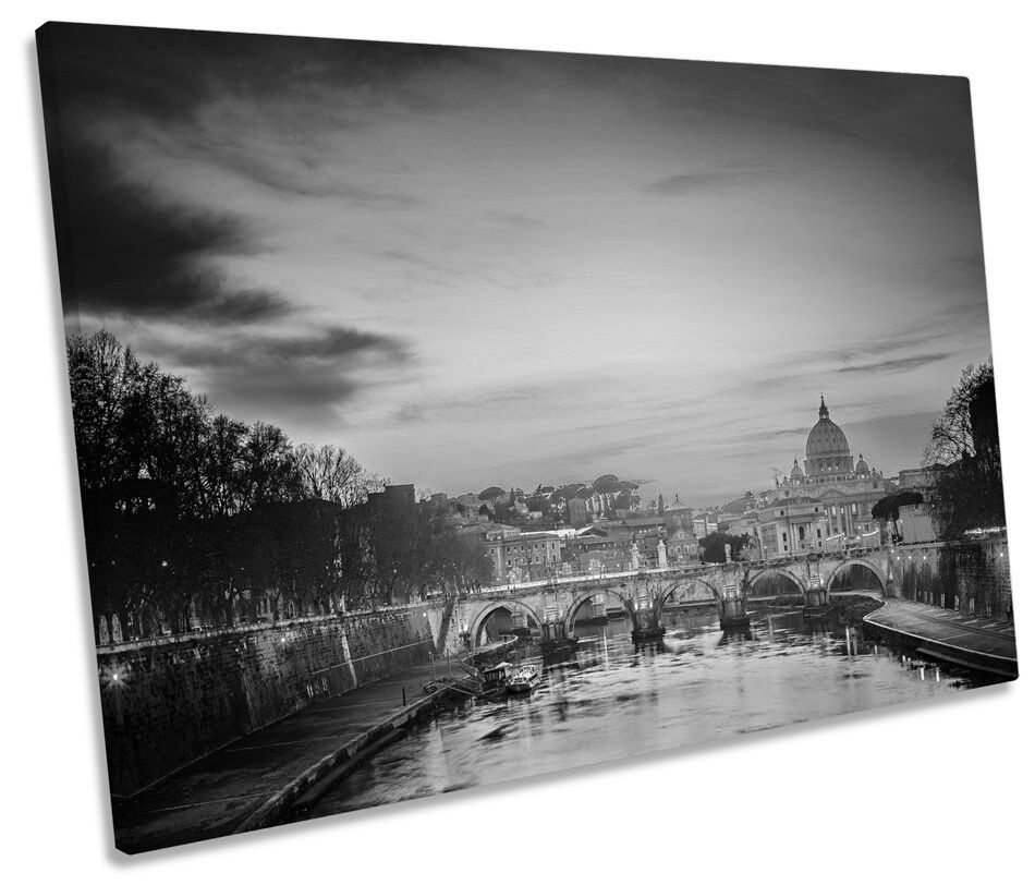 St Peters Cathedral Rome Sunset  B&W SINGLE CANVAS WALL ART Framed Print