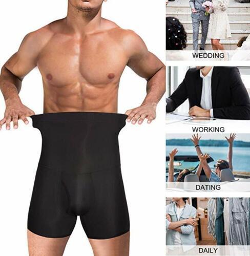 MenS Firm Control Shorts High Waist Boxer Slim Body Shaper Seamless Belly Girdle