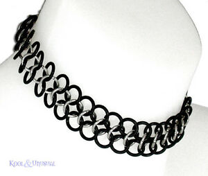 NARROW-Steel-and-Rubber-Chain-Mail-Choker-by-SINPATIKO-Goth-Punk-Emo