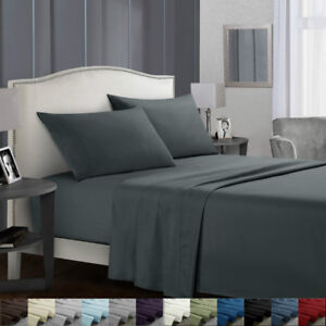 Flat-Fitted-Bed-Sheets-Set-Deep-Pocket-Twin-Full-King-Queen-Bedding-Essentials