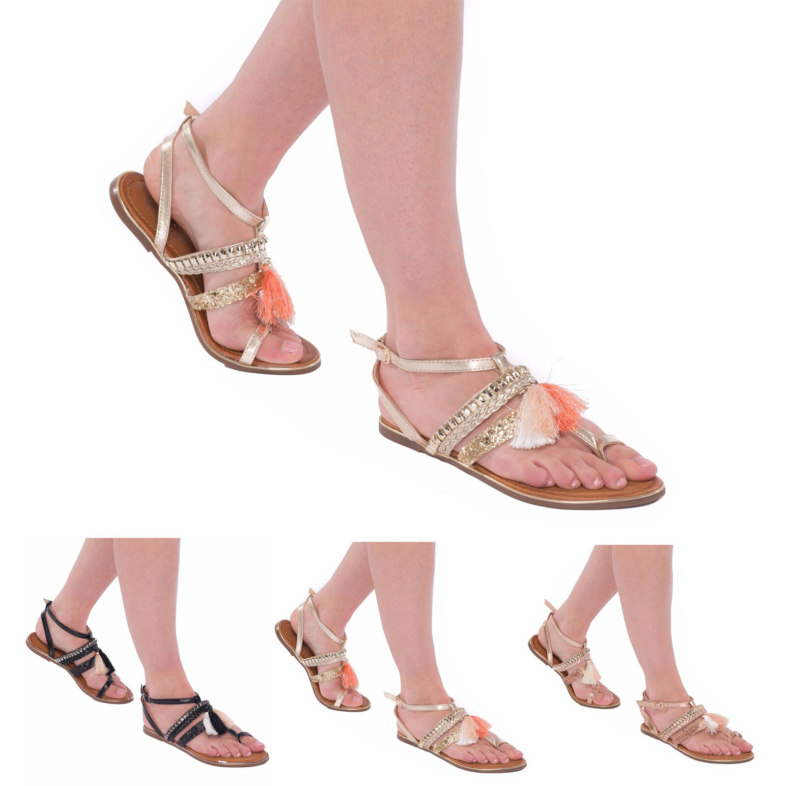 Women's Ladies PU Flats Summer Buckle Gladiators PU Ladies Leather Fringed Sandals Shoes 16c112