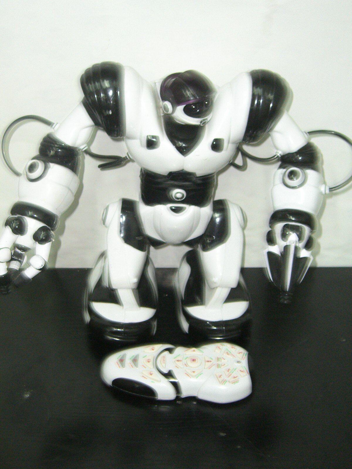 2004 WOW WEE Weiß & schwarz ROBOSAPIEN 14  ROBOT WORKS + REMOTE