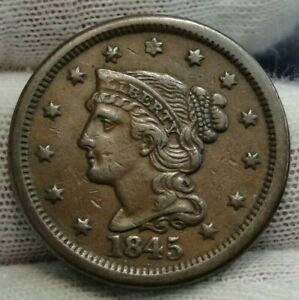 1845-Large-Cent-Penny-Braided-Hair-Penny-High-Grade-Coin-Free-Shipping-8902