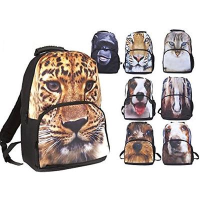 Animal 2D Face Print Backpack Shoulder Carry Zipper Rucksack Large School Bag