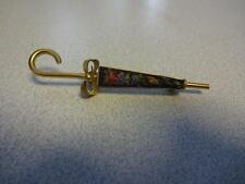 vintage Petit Point Floral Vintage Umbrella  Finished Needlepoint Pin Brooch