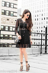 Self-Portrait-A-Line-Lace-Up-Dress-Black-Brand-New-BNWT-UK-8-12-Sold-Out