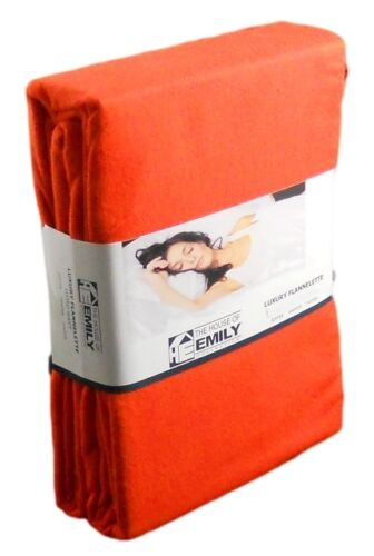 King Size Brushed Cotton Flannelette Duvet Cover Set Flame Orange