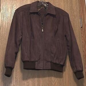 Vintage-Bomber-Jacket-Womens-Size-Xs-Brown-Leather-Bomber-Preston-amp-York-E1150