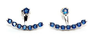 925 Free Gift Box Sterling Silver Blue Sapphire 0.48ct Anchor Earrings