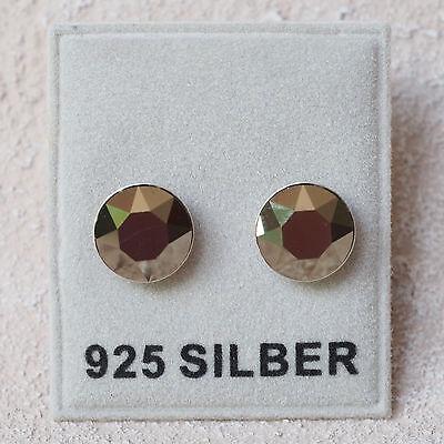 Kompetent Neu 925 Silber Ohrstecker 8mm Swarovski Steine In Metallic Light Gold Ohrringe Sonstige