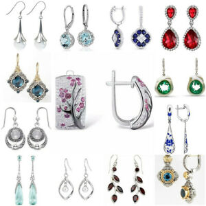 Femmes-925-Argent-Rubis-Perle-Sapphire-Gemstone-Ear-Stud-Crochet-Dangle-Drop-Boucles-D-039-oreilles