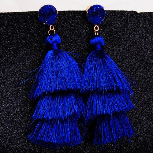 Women Fashion Bohemian Long Dangle Elegant Tassel Earrings Jewelry LA