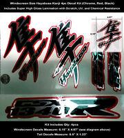 Gsxr Hayabusa Kanji & Tail Decal Kit 4pcs Windscreen Tail Chrome Laminated 0123