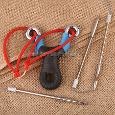 Fishing Slingshot Arrow head Stainless Steel Slingshot Catapult with Red Rubber