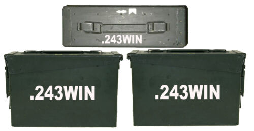 FGD 243 WIN Ammo Box (Decals) Two 8 W x 1.5 H & One 4 W x 0.75 H