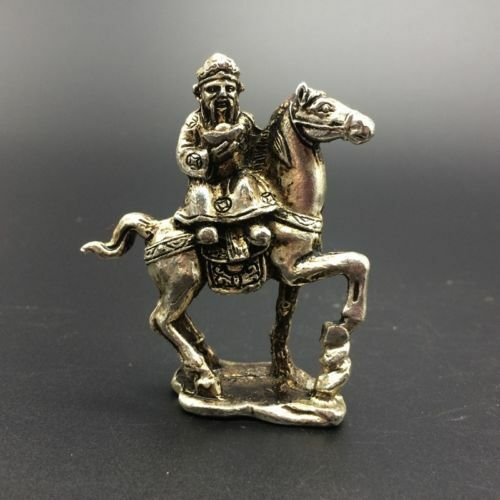 China Antiques Tibetan silver hand-carved The God of wealth /& horse statue