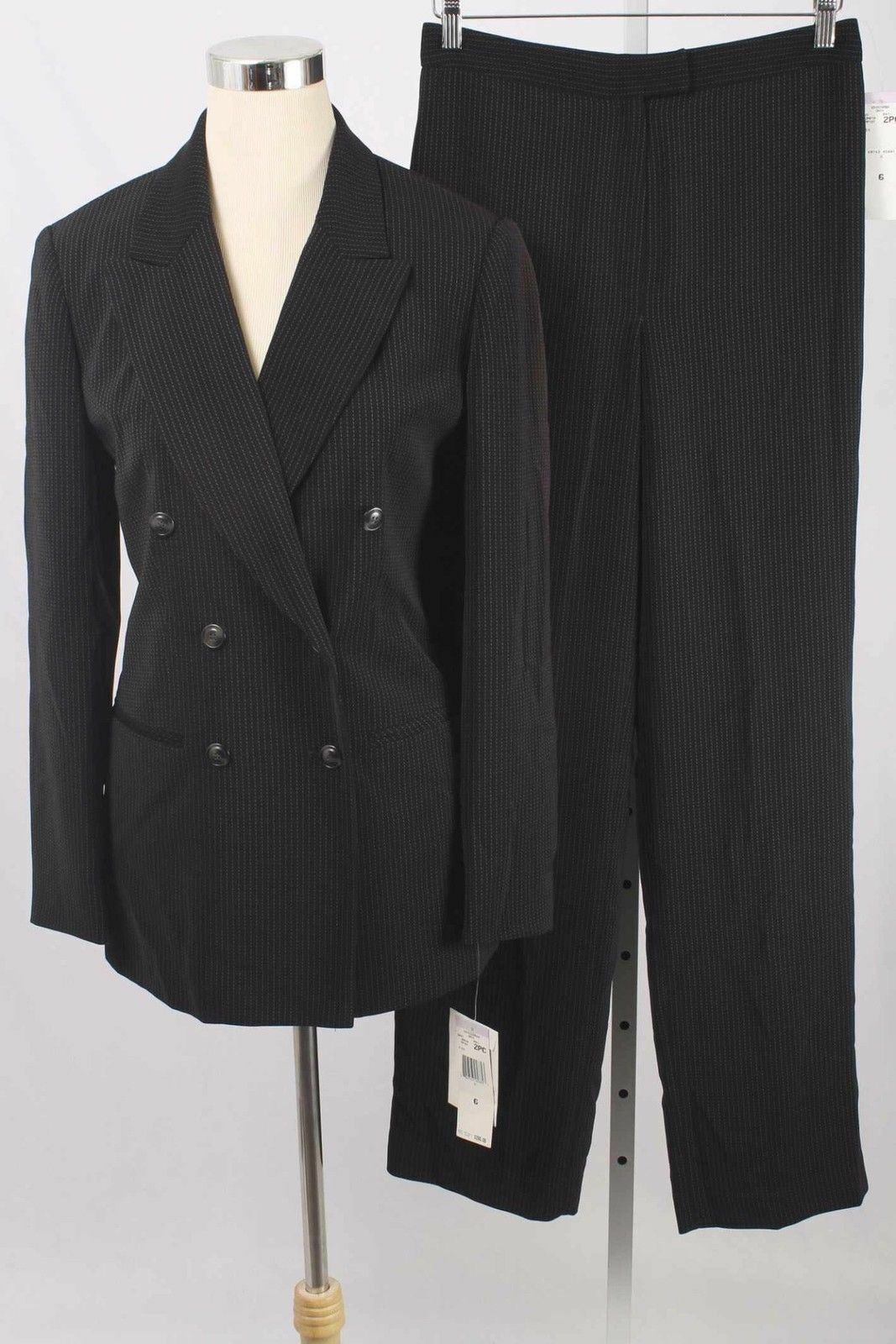 Jones New York Size 6 Onyx Dashed Pin Stripe Blazer & Pant Suit NWT 202 L217