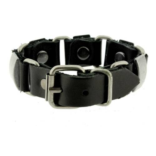 Black Leather Bracelet Wristband Silver Metal Hardware Linked w// Buckle Biker