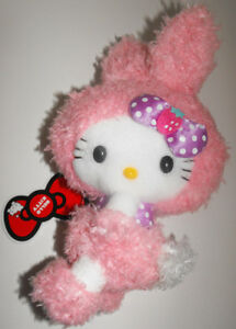 Pink-Plush-Hello-Kitty-Fuzzy-Bunny-8-inches-Doll-Stuffed-Animal
