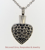 Angel Wings On Heart Cremation Jewelry Keepsake Pendant Urn With Chain & Funnel