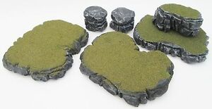 Warhammer 40k Tabletop WarGaming Terrain Scenery Grey Stone Plateau Rocks Set H
