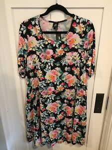 7601fdb1c8f New NWT Agnes   Dora Swing Tunic Top 3xl 3x XXXL Black Floral Spring ...